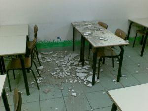 L'aula oggetto del crollo